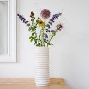Zet een vrolijk veldboeket in de Insulator vaas en de zon gaat schijnen in huis. De design vaas van David Derksen is hoog en smal en zeer geschikt voor eigentijdse boeketten met bloemen met verschillende lengtes.