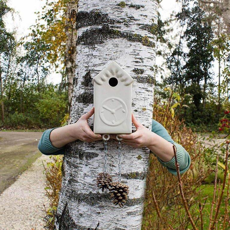 Vroege Vogels: een modern nestkastje in de vorm van een klok met gewichten van dennenappels. Hangt prachtig aan een wand maar zeker ook aan een boom.