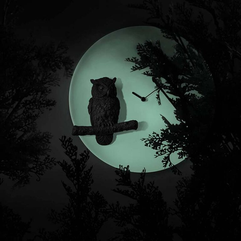 Als het donker is dan geeft het ronde witte uurwerk een Glow in the Dark effect. Moderne design klok met zwarte uil op de voorgrond.