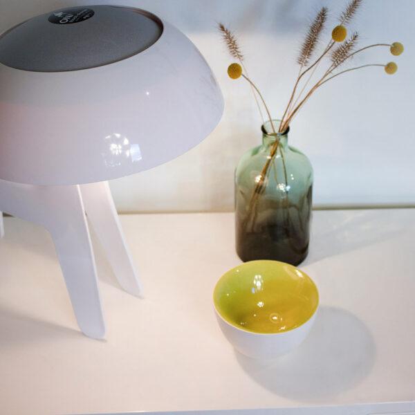 De witte Slow Motion kom is uitgevoerd met een contrasterende binnenzijde in kleurrijk hoogglans.