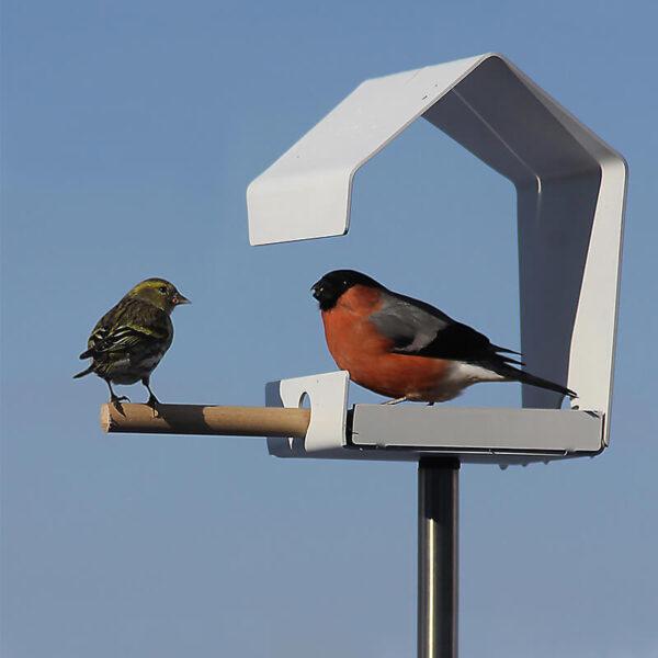 Het Petit vogelhuisje is een klein voederstation. Toch biedt het mogelijkheden voor zowel strooivoer (zaden) als het ophangen van een mezenbol.