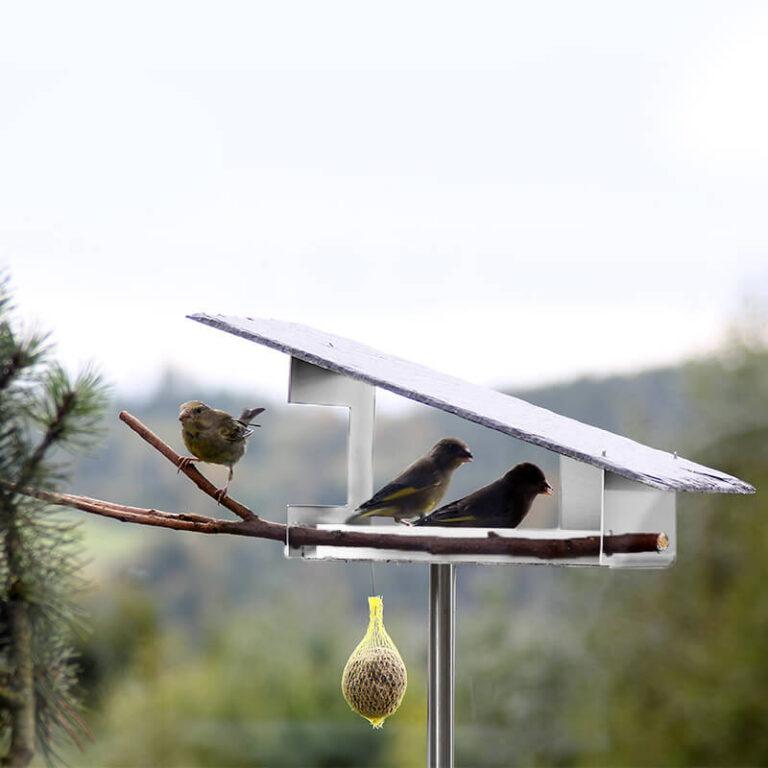 De Leisteen vogelvilla heeft een open karakter wat het aanvliegen voor de vogels makkelijk maakt. Voeg zelf nog een mooie tak toe waarop ze kunnen neerstrijken.