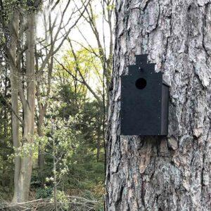 De Canal Bird design vogelhuisjes hangen prachtig aan een boom. Het nestkastje is geïnspireerd op een klassiek grachtenpand met een trapgevel. Gemaakt van water- en weersbesteding MDF dat zwart gebeitst is.
