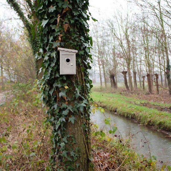 Nestkastje Schijtlijstertje heeft de vorm van een ouderwets toilethuisje. Hang 'm aan een boom in je tuin of aan de muur op je balkon. Uiteraard niet voor Schijtlijsters of echte lijsters, maar alleen voor kleine vogeltjes zoals meesjes.