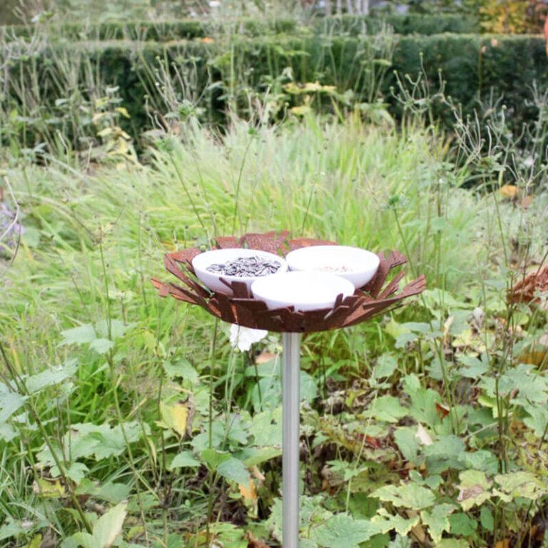 Zorg voor een gevarieerd menu door de 3 schaaltjes met verschillende soorten vogelvoer en water te vullen. Ook in de lente en de zomer is het bijvoeren belangrijk.